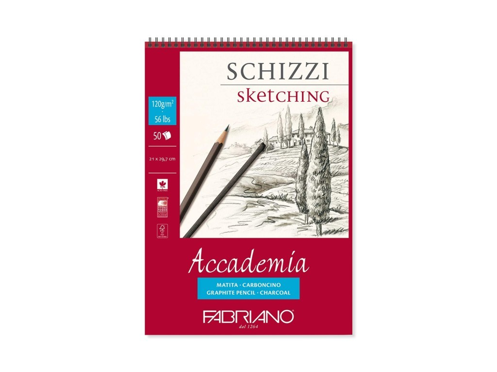 Bloc desen Accademia Schizzi, A4, cu spira, Fabriano