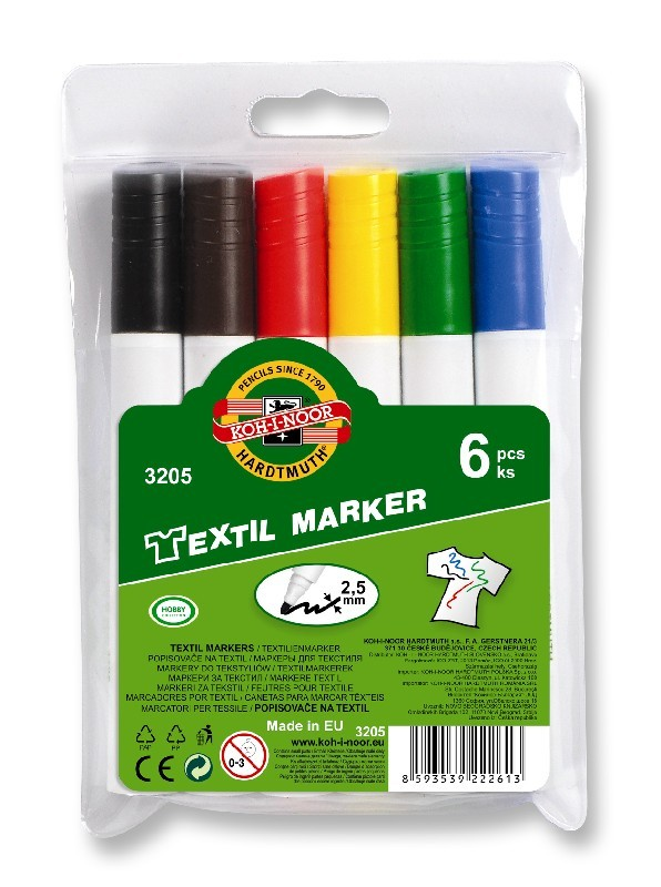 Set 6 markere KOH-I-NOOR pentru textile