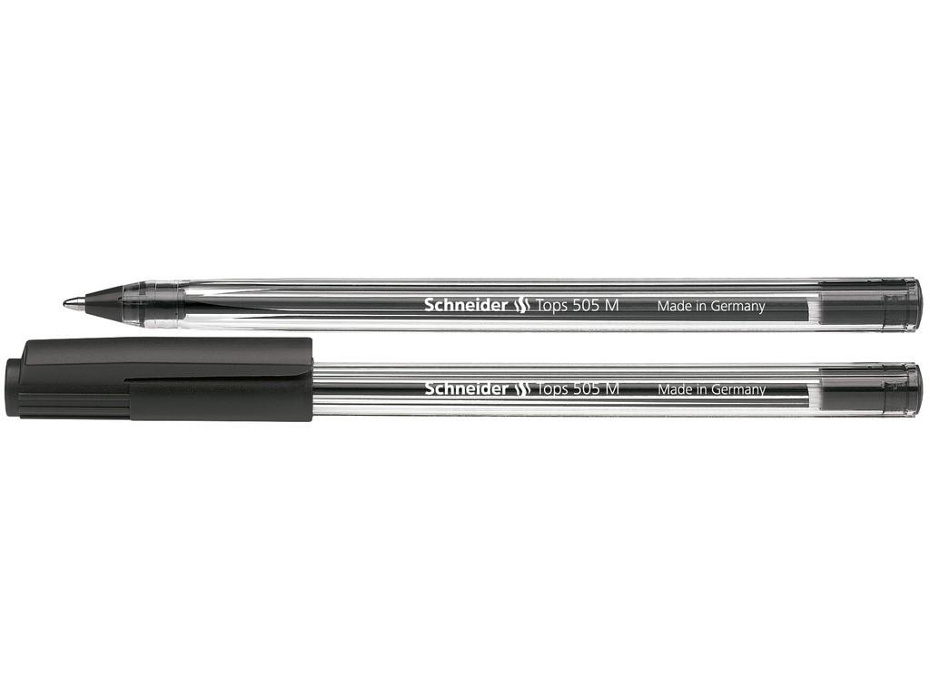Pix SCHNEIDER Tops 505M, unica folosinta, varf mediu, corp transparent - scriere neagra