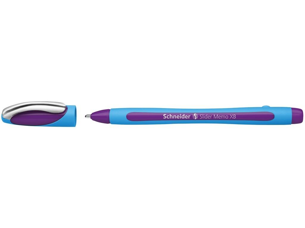 Pix SCHNEIDER Slider Memo XB, rubber grip, accesorii metalice - scriere violet