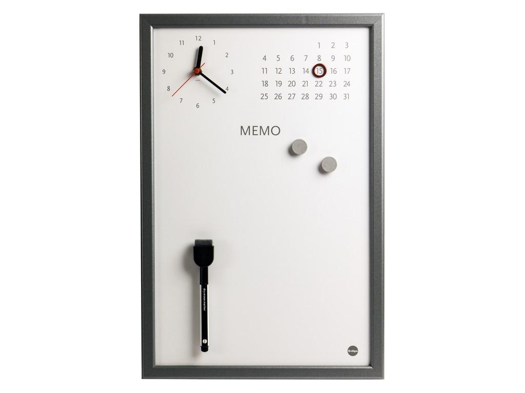 Ceas Memo-Whiteboard magnetic Bi-Silque - gri